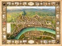 Basel Vogelschauplan von Basel von Maehly