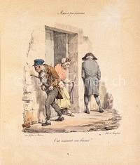 Männer pinkeln an die Hauswand unter den Augen einer Dame