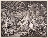 Wirtshauszene mit Gelage nach William Hogarth