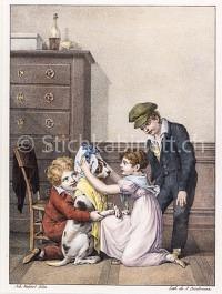 Spielende Kinder statten Hund mit Haube aus