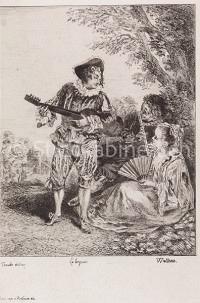 Le lorgneur  Musik Gambe und Flöte in Landschaft