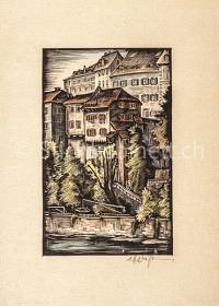 Basel  Rheinpartie Grossbasel mit Fischergalgen