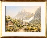 Schweiz Alpenszene mit Chalet, Dorf und Gletscher